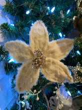 Load image into Gallery viewer, Off White Fur Poinsettia Clip