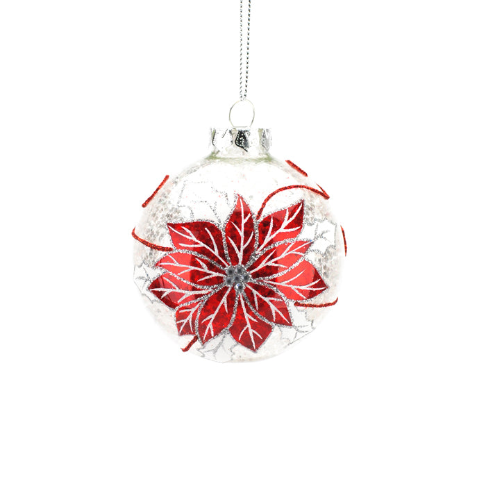 Red Poinsettia on Clear Glass Ball Ornament