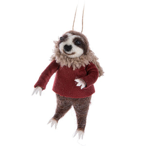 Sloth in Red Sweater Ornament