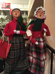 Carolling woman with bell red green plaid 2 asst