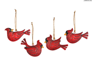 Whimsical Red Metal Cardinal Ornament
