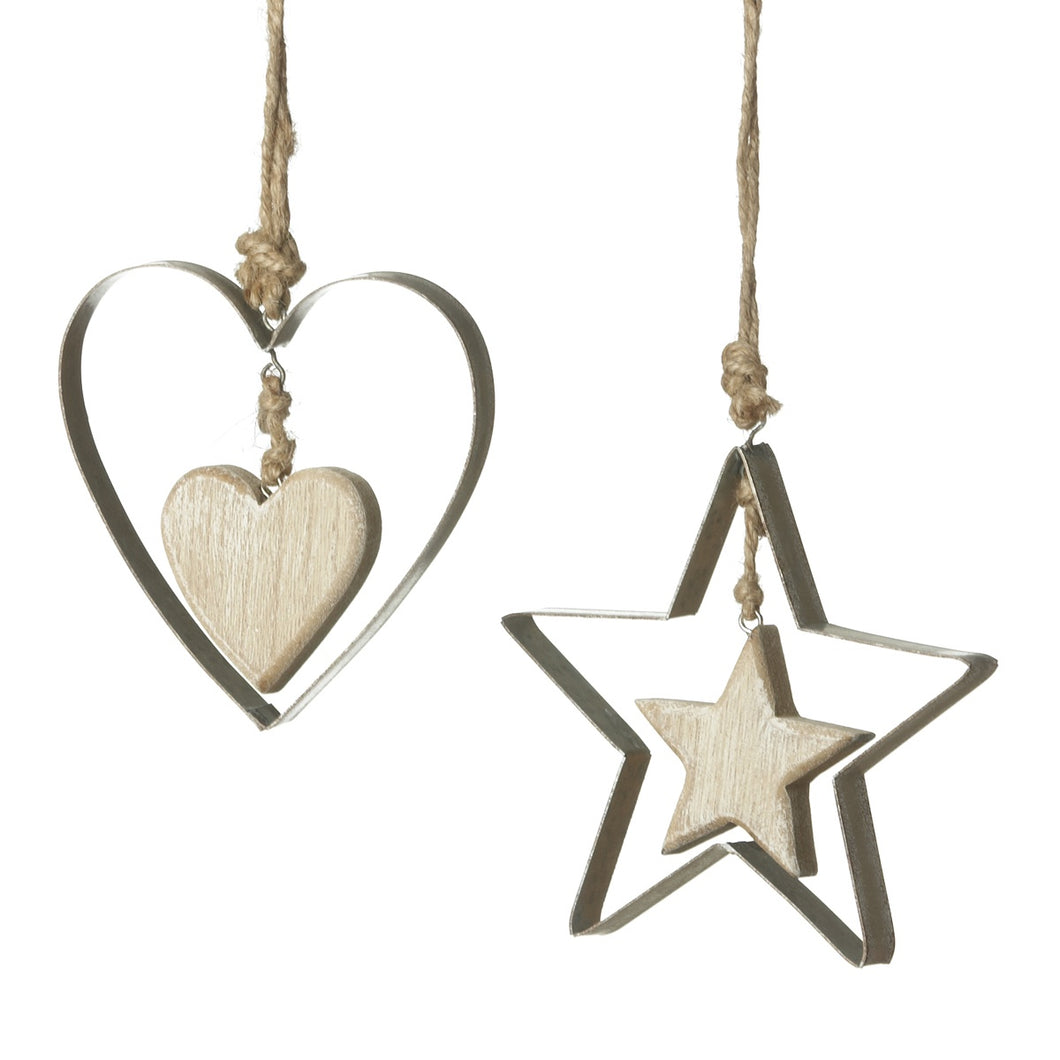 Wooden Rustic Star or Heart Ornament