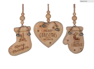 Real Wood Ornaments - 3 styles