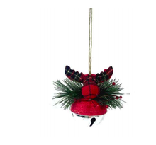 Load image into Gallery viewer, Buffalo Plaid Moose on Silver Ball Ornament