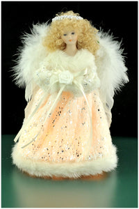 "9"" Silver White Angel Treetopper"