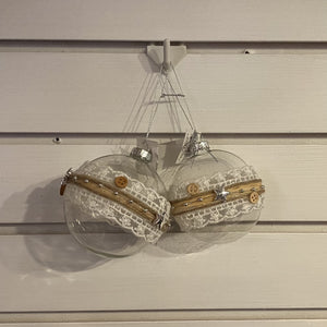 Clear Glass Ball  w/Burlap and Lace, 2 asst