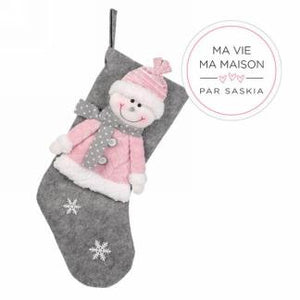 Pink and Grey Snowman Stocking