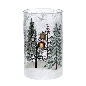 CLEAR CRACKLE TREES VASE 7.5 inch