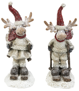 Merry Chris-moose Skiing Figurines