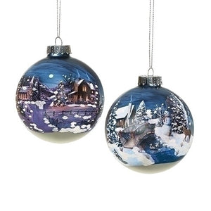 Painted Blue Ball Ornaments 2 styles