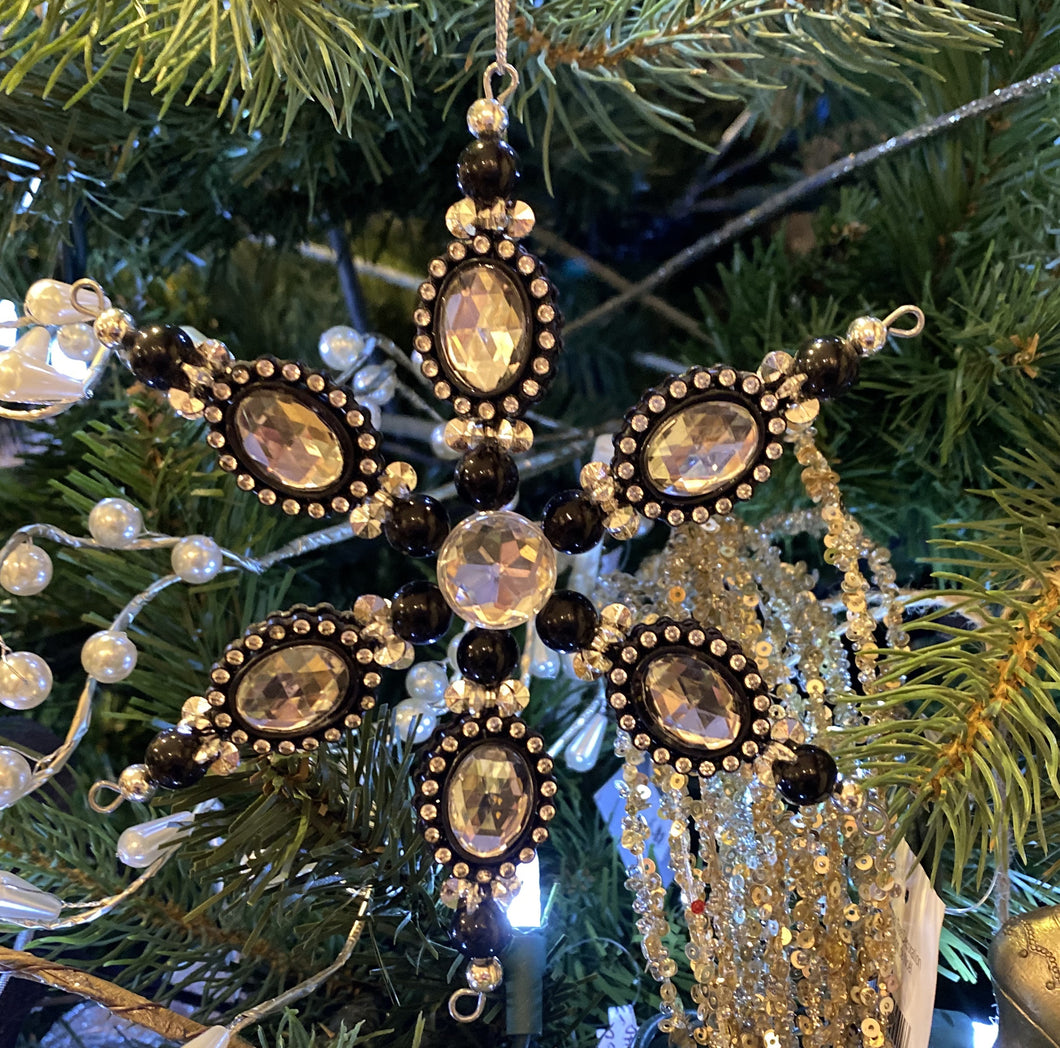 Black Jewelled Snowflake Ornament