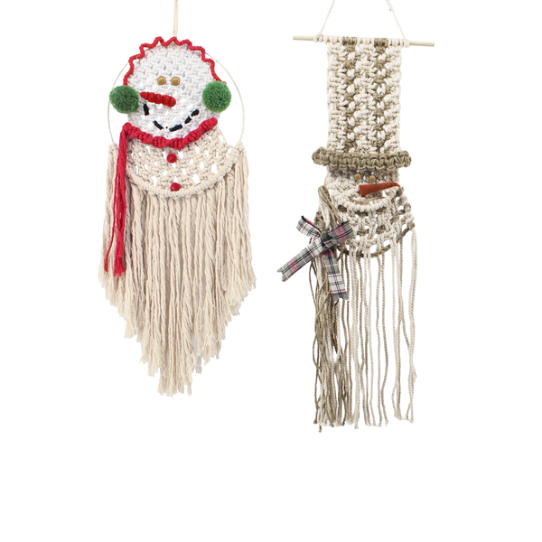 Macrame Snowman Wall Hangings