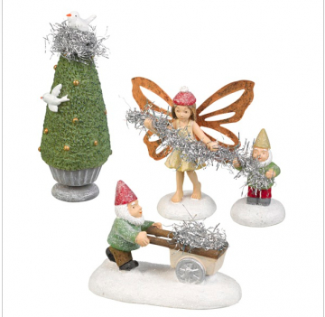 Gnome, fairy and tinsel tree (set of 4 figurines)