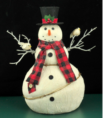 Snowman with Red  Plaid Scarf and Top Hat