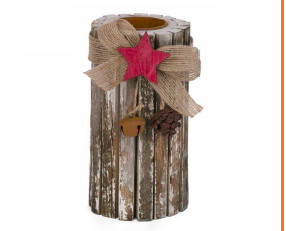 6 inch log look candle holder with red star