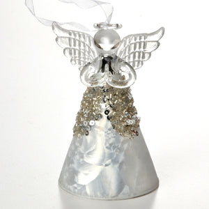 Silver Glass Fairy Angel Ornament
