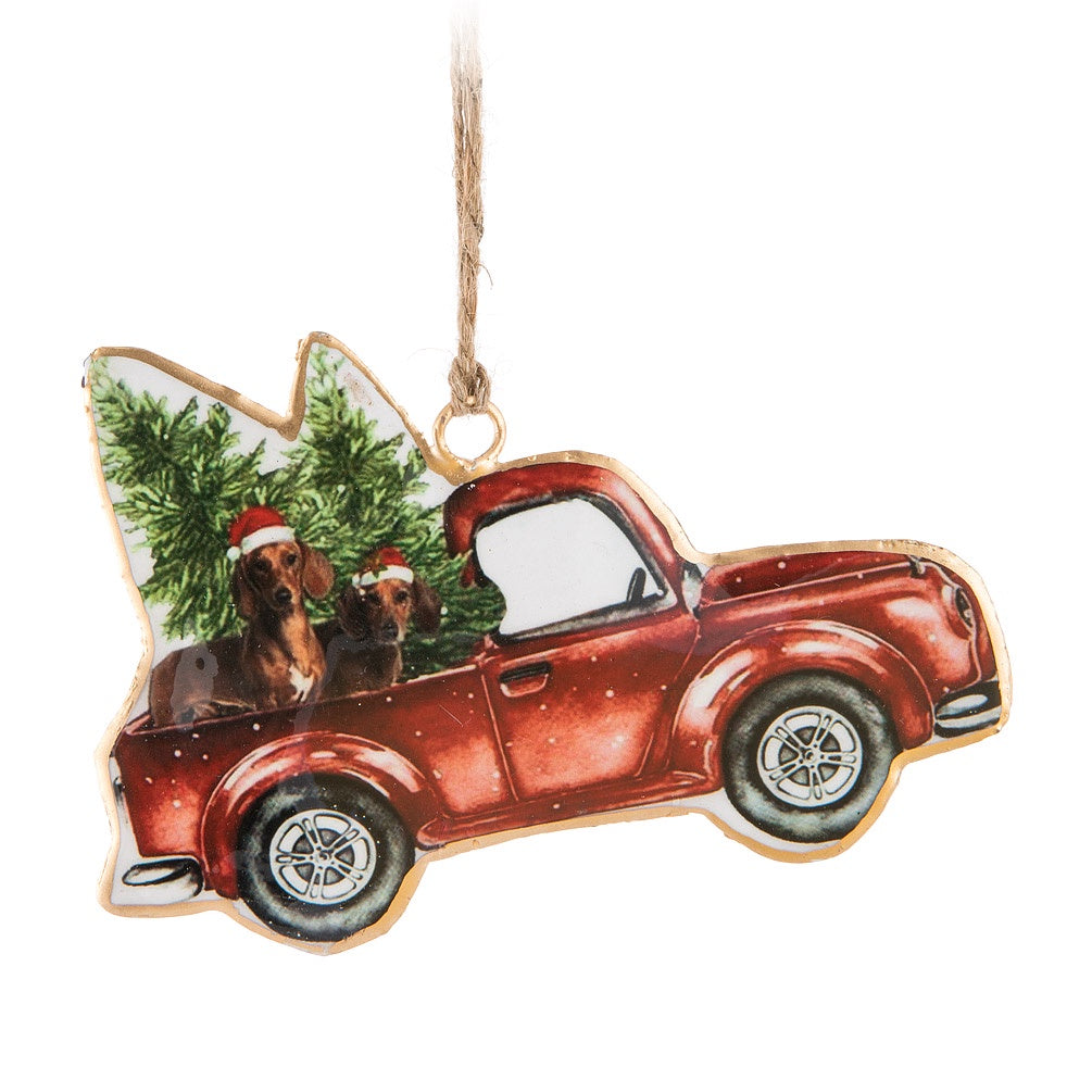 Vintage Dog in Truck Ornament