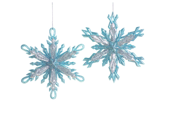 Blue and Silver Glittered Snowflake Ornament