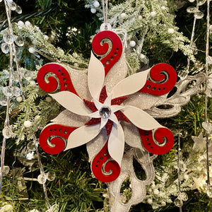 Red & White Glitter Snowflake Ornament