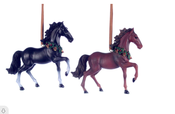 black or brown HORSE ORNAMENTS 2 asst