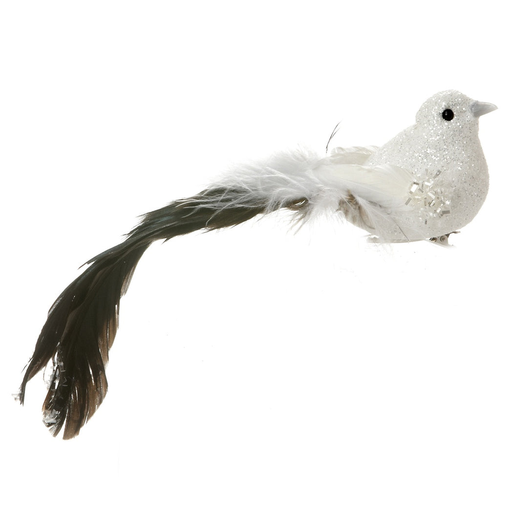 White Glitter Bird Clip w Long Feather Tail