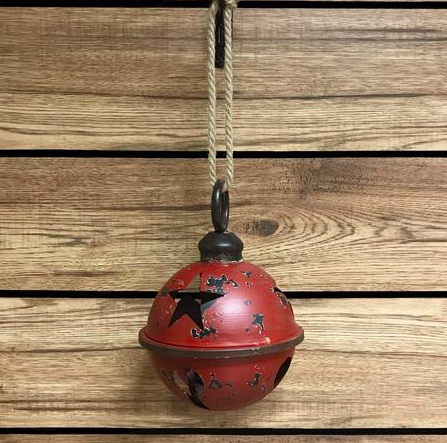 Rustic Red  Metal Jingle Bell 7 inch
