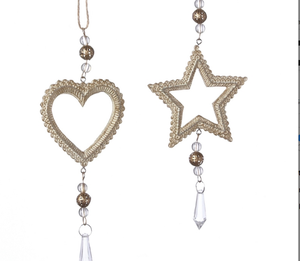 3 inch gold heart or star ornament 2 asst