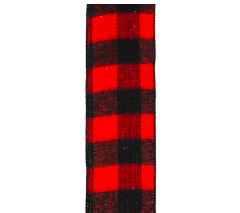 WIRED RIBBON 2inch X 10YDS BRUSHED buffalo plaid