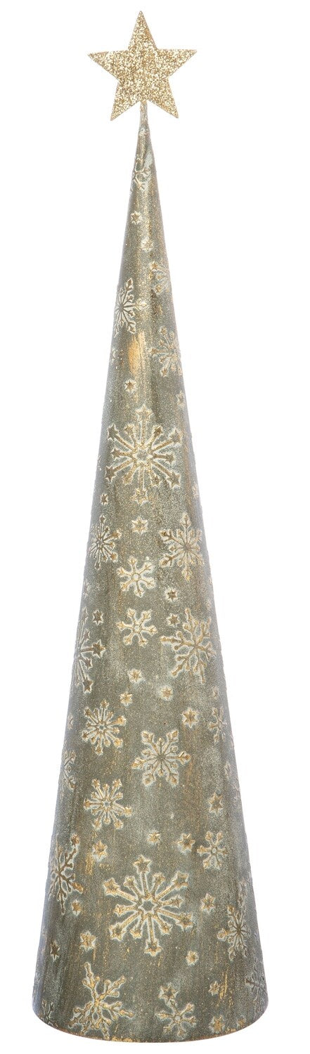 Embossed Gold Metal Cone Tree
