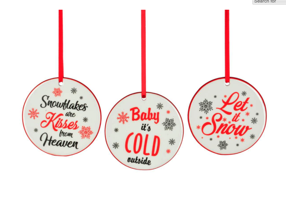 Red Black Christmas Saying Disc Ornaments
