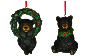 BEAR W WREATH ORNAMENT 2 asst