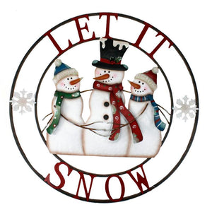 Let It Snow Metal Snowman Sign