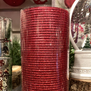 "6"" Red Glitter Pillar Candle"