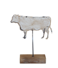 Load image into Gallery viewer, Distressed White Tin Cow on Stand
