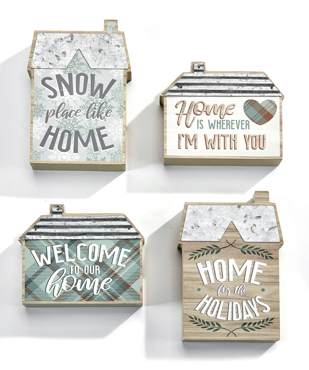 House Shaped Woodblock Sign 4 styles