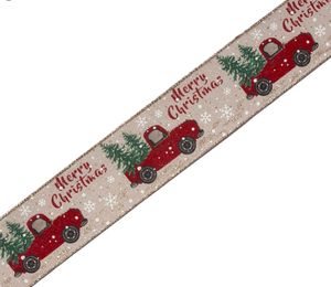 Ribbon with Red Truck design (10 yds)