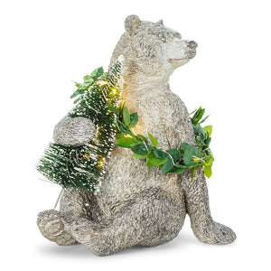 Bear with Tree & LED Wreath