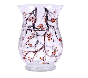 Fluted Glass Winterberry Vase