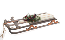 Load image into Gallery viewer, Wooden Sled w Buffalo Plaid Bow