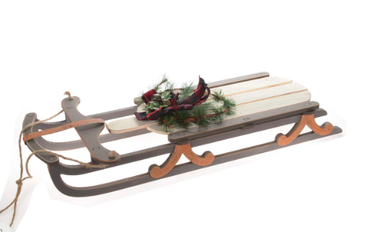 Wooden Sled w Buffalo Plaid Bow