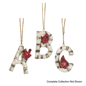 Birch Letter Cardinal Ornament