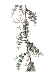 4 ft White Glittery Berry Leaf Garland