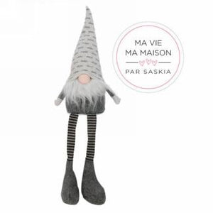 Grey hat gnome with striped legs