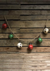 ANTIQUE JINGLE BELL GARLAND ON JUTE ROPE