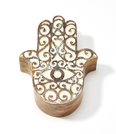 Antique Finish Pivot Box - Hamsa