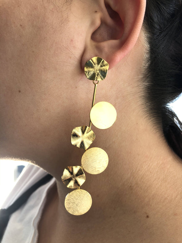 Long circles statement earrings