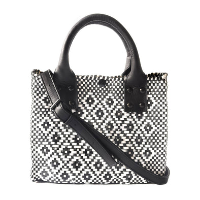 Bags - Panda Mini Woven Crossbody Bag - Black Leather - wynwoodtribe