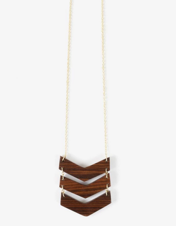 Chevron Necklace Wood