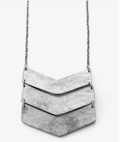 Chevron Necklace Silver