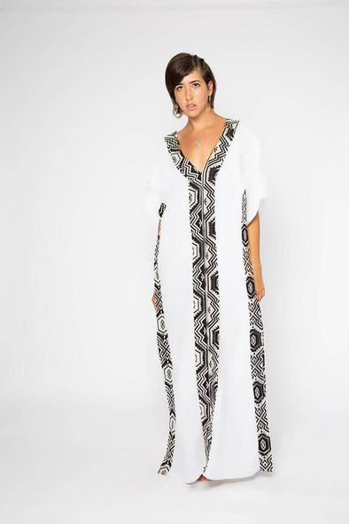 White Tribal Kaftan Dress